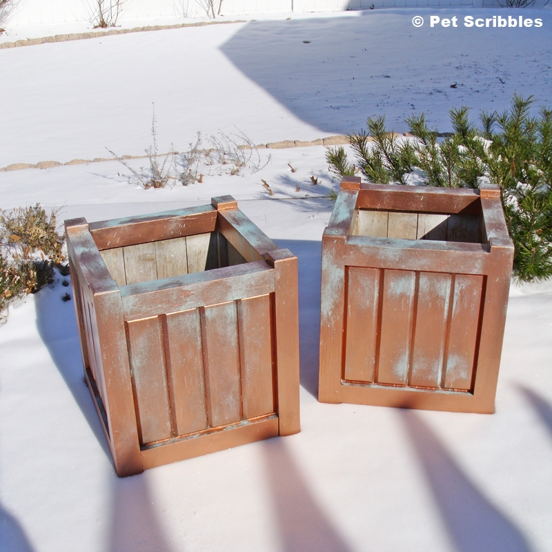 Wooden Planters get faux patina makeover