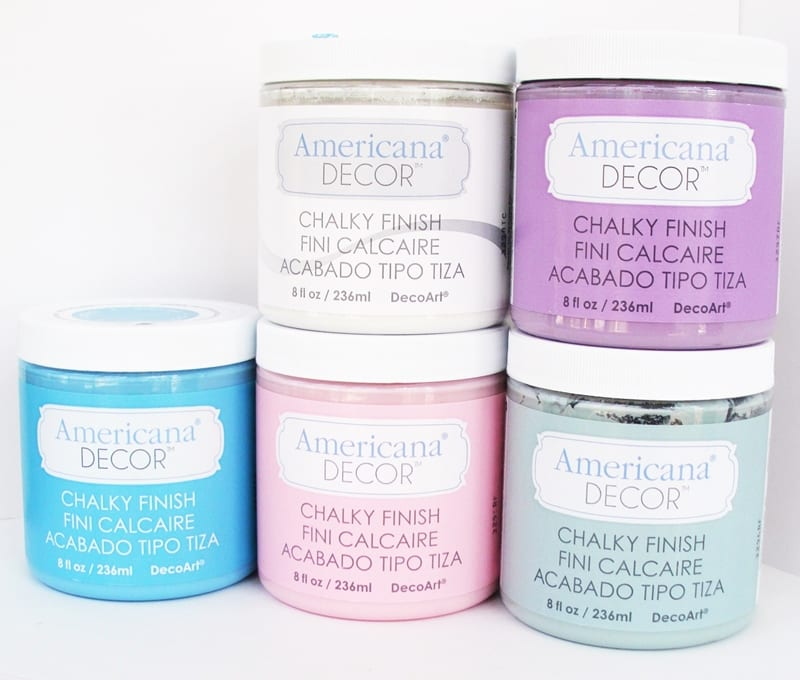 DecoArt Chalky Finish Paints showing five colors