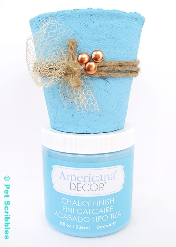 DIY Wedding Favor painted in bright blue chalky finish paint
