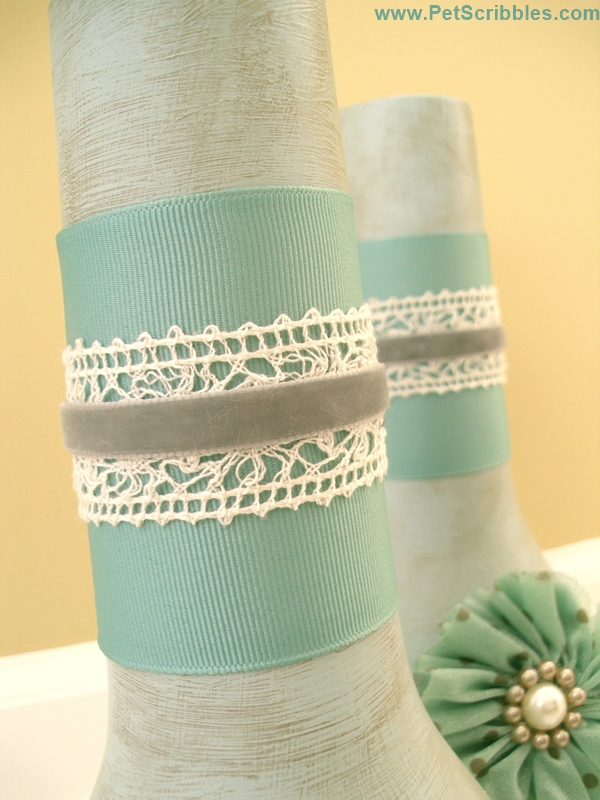 Ribbon and Lace Vase DIY by Pet Scribbles for The Ribbon Retreat