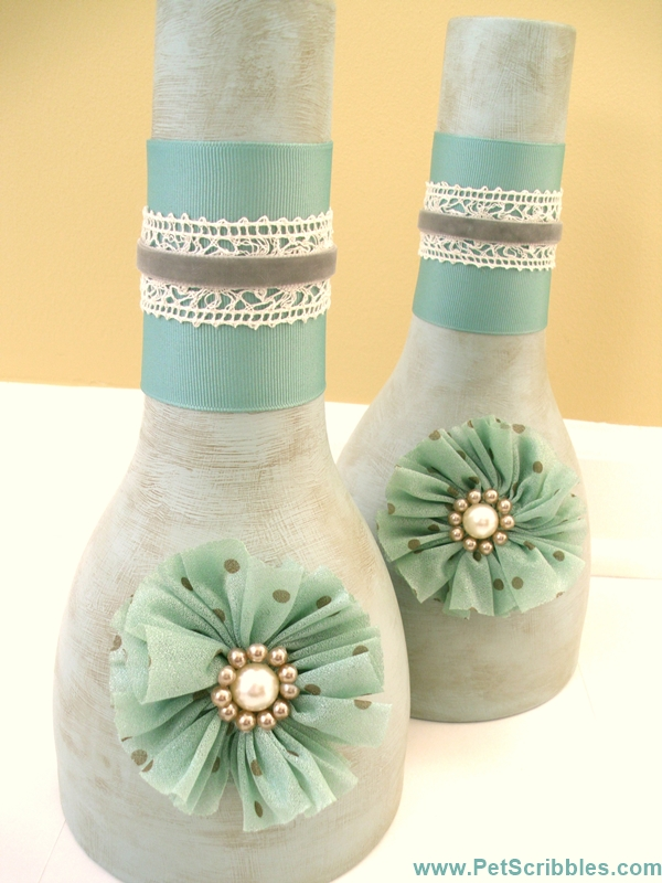 Layering Ribbons on a Vase - an easy makeover in a soft color palette!