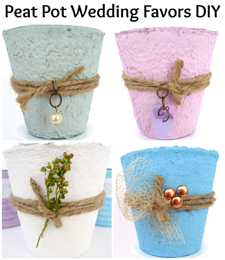 peat pot wedding favors diy and video using decoart chalky finish