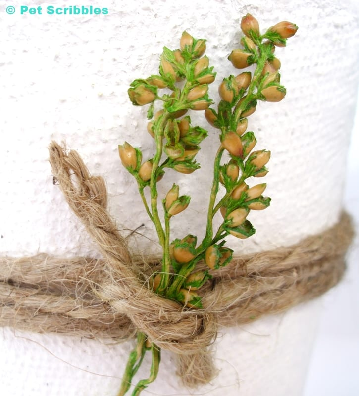 white peat pot wedding favor detail view