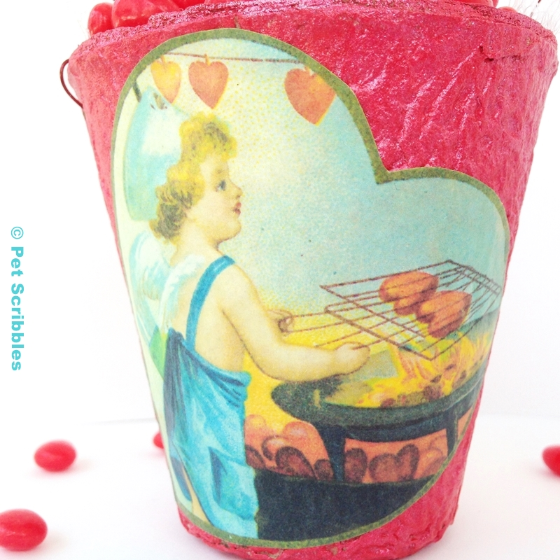 Red Hot Valentine Container made from a peat pot