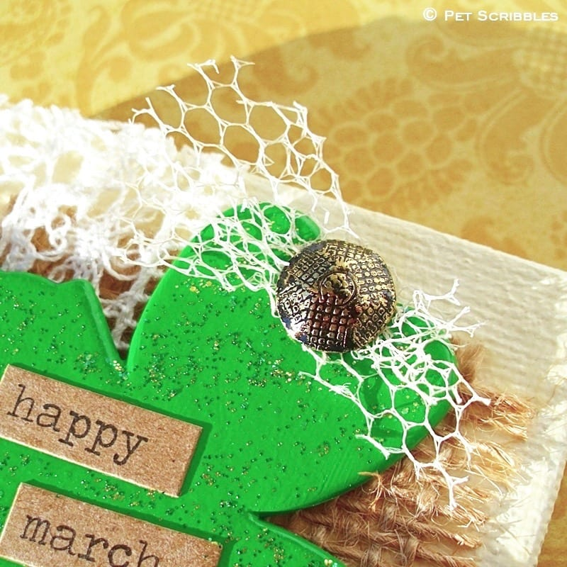 Shamrock Miniature Art DIY - decorative furniture nail and vintage tulle