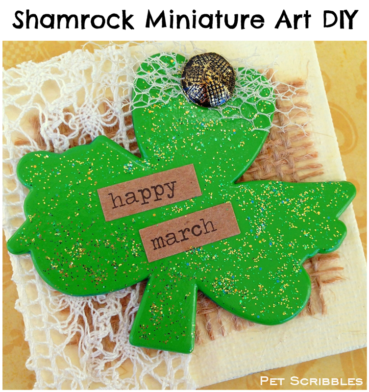 St. Patrick's Day craft: Shamrock Miniature Art Canvas - only 2.75 inches square!