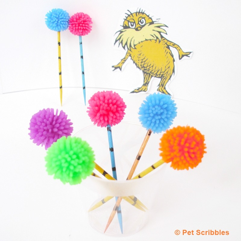 Truffula Tree Cupcake Toppers for your next Dr. Seuss Lorax party!