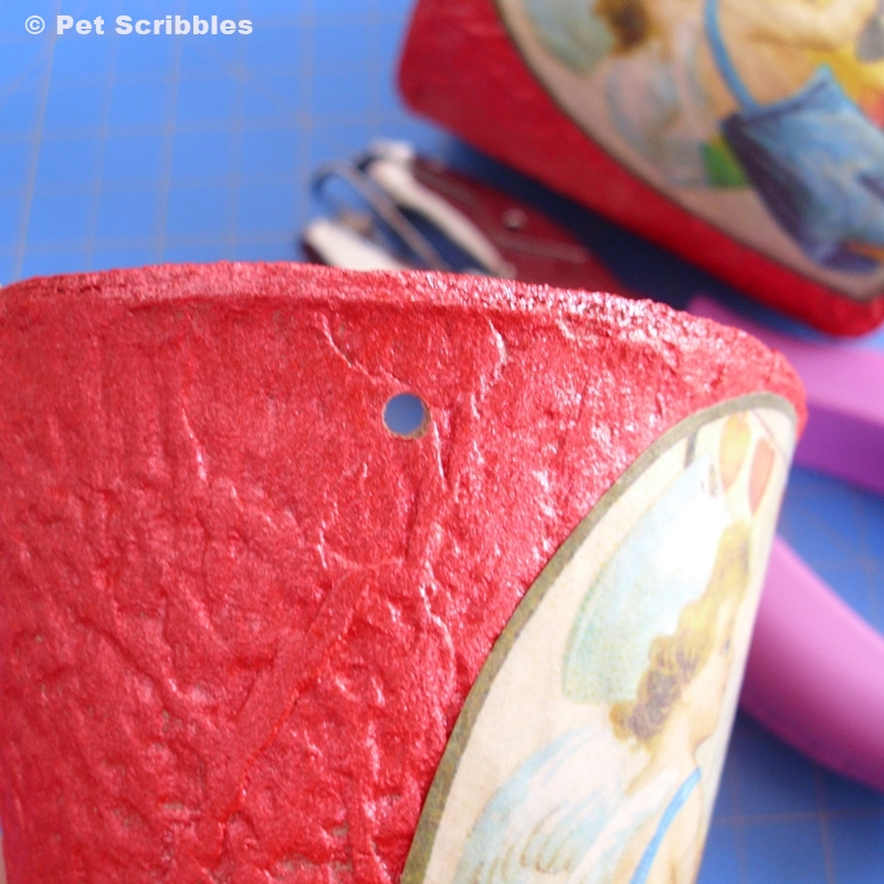 Valentine Container DIY - peat pots are light, so it's easy to punch holes in them