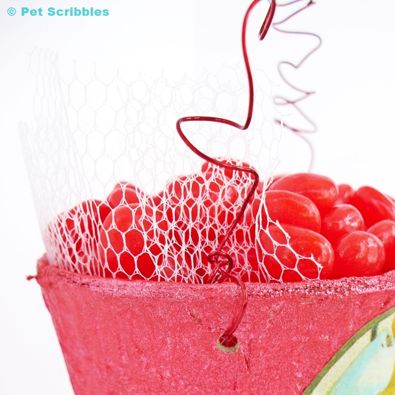 Valentine Container DIY - vintage netting added into the container