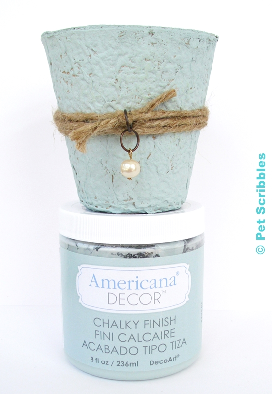 DIY Wedding Favor painted in Vintage (color) Chalky Finish Paint by DecoArt.