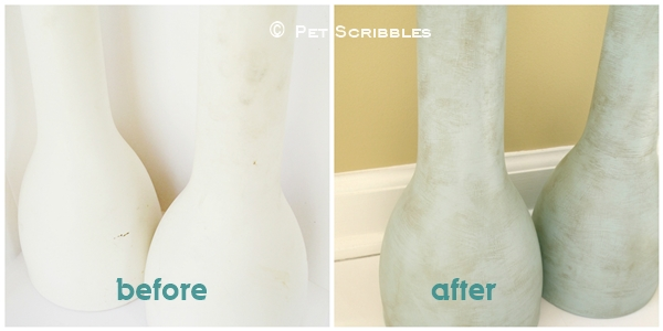 Before and after makeover of ugly vases using paint to create a shabby and distressed finish.
