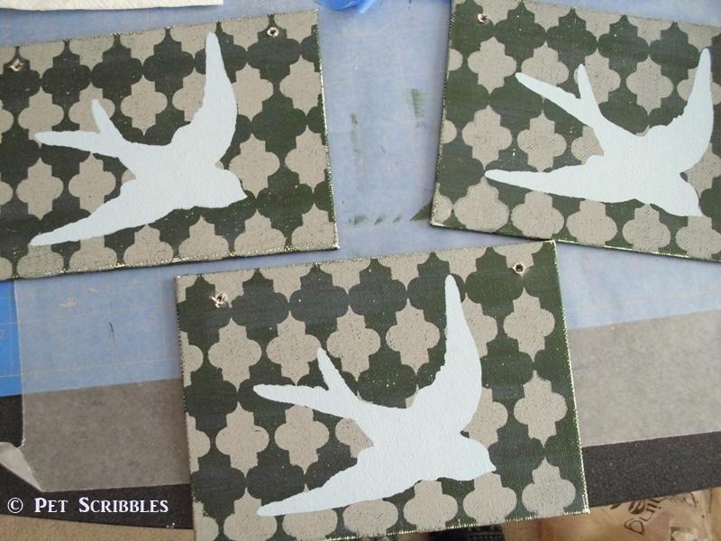 Ed Roth Stencil1 bird stencil layered over background stencil