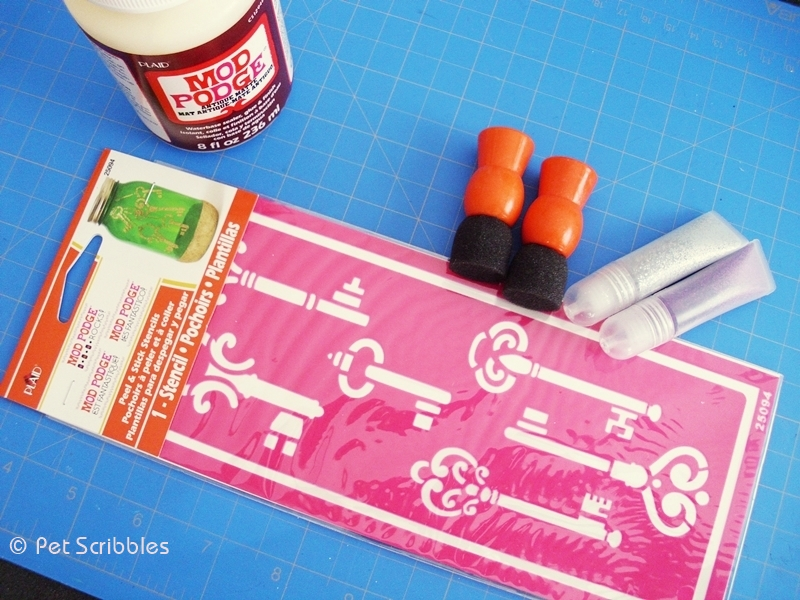 Supplies needed to make your own Vintage Key Wall Art using Mod Podge Rocks Stencils