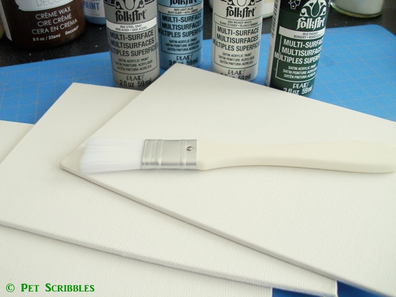 Put a bird on it layered stencil art supplies: 5x7 canvases and FolkArt Multi-Surface paints.