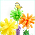 Dr. Seuss Craft: Truffula Trees from dishwashing sponges!