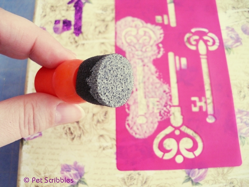 Mod Podge Spouncers are the best way to apply Mod Podge onto the new Mod Podge Rocks Adhesive Stencils.