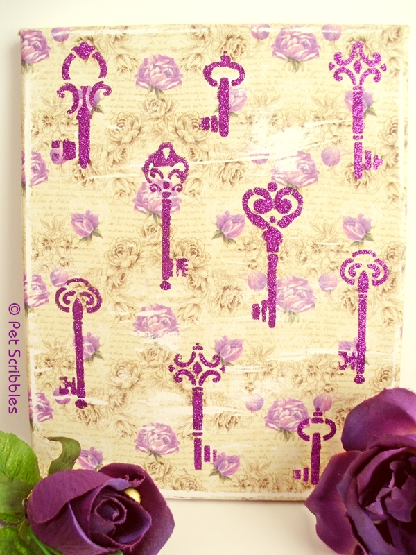 Vintage Key Wall Art using Mod Podge Rocks Stencils - Pet Scribbles