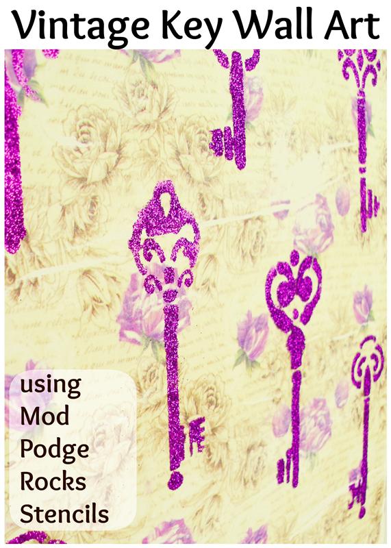 Vintage Key Wall Art using Mod Podge Rocks Stencils