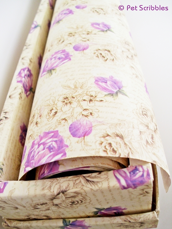 Vintage-style printed shelf paper is a great decorative paper to craft with!