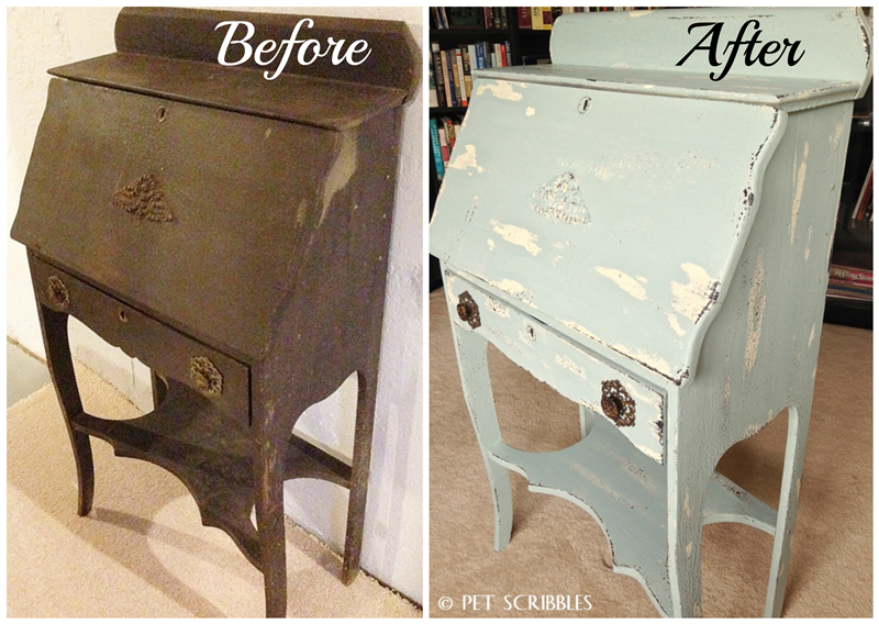 Chippy Paint Antique Secretary Desk before and after - Chippy Paint Antique Secretary Desk - Pet Scribbles