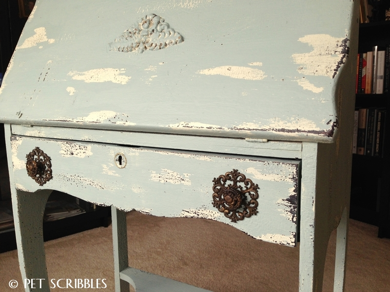 Chippy Paint Antique Secretary Desk - front view