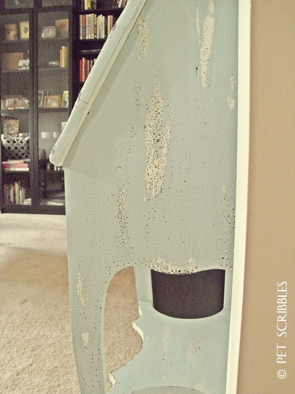 Chippy Paint Antique Secretary Desk - side view in library room