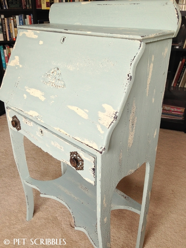 Chippy Paint Antique Secretary Desk