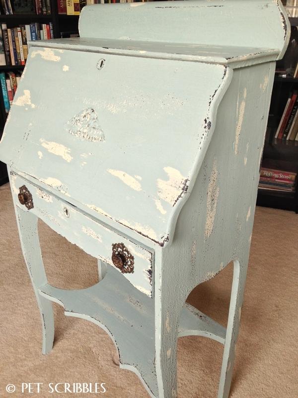 Chippy Paint Antique Secretary Desk