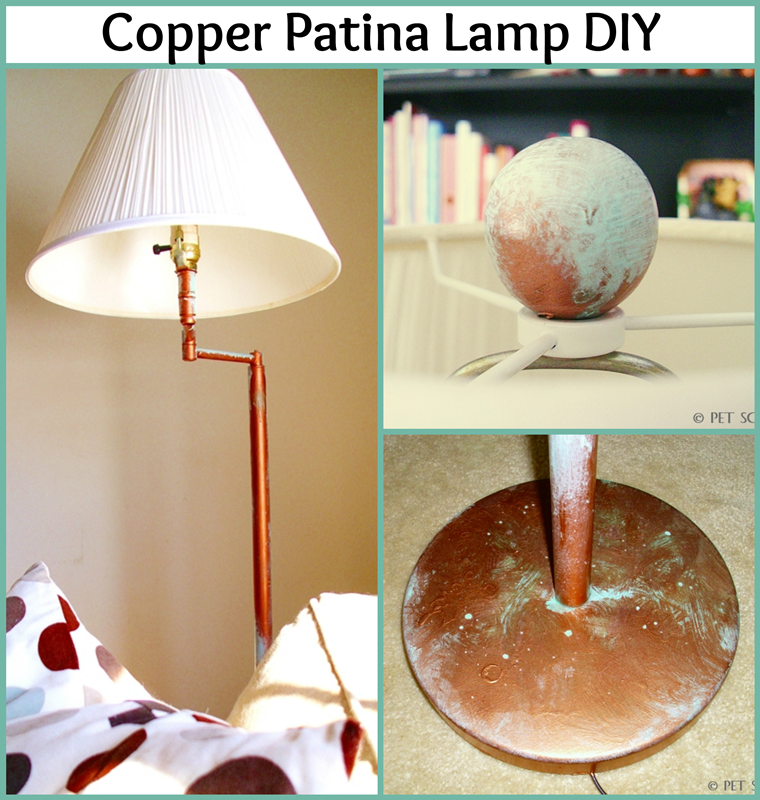 Copper Patina Lamp Makeover: a thrift store lamp gets gorgeous with copper and patina finish!