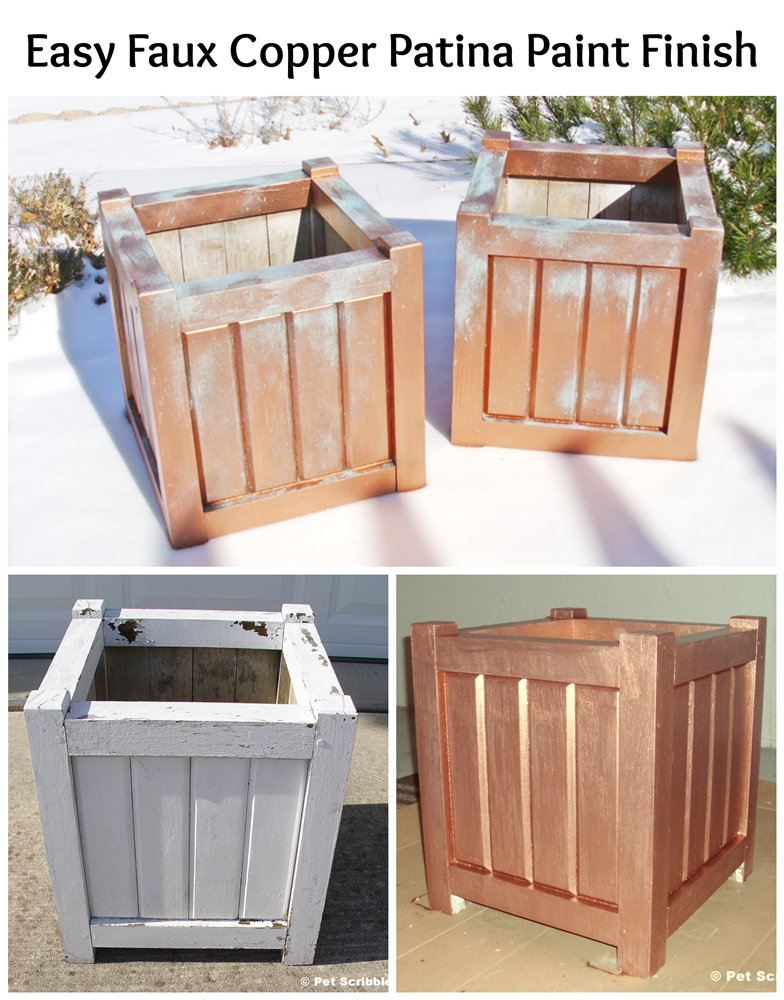 Easy Faux Copper Patina Paint Finish on large wooden planter boxes: a fun DIY!