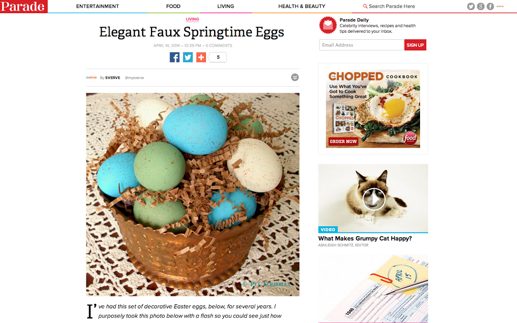 Elegant Faux Springtime Eggs by Pet Scribbles via Parade Magazine