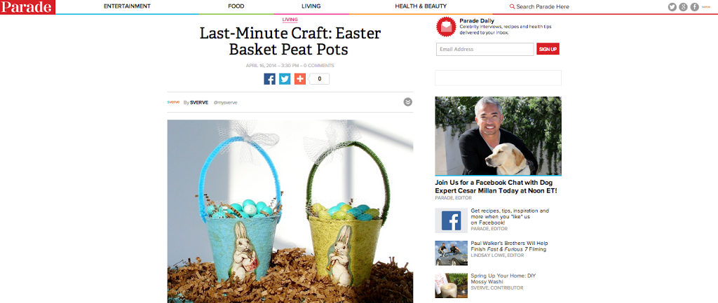 Last-Minute Easter Craft: Easter Basket Peat Pots by Pet Scribbles via Parade Magazine