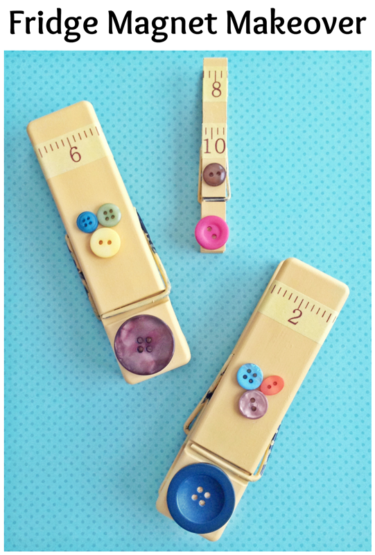 Clothespin Refrigerator Magnets: easy DIY makeover!