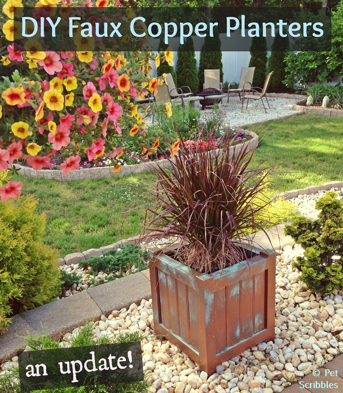 DIY Faux Copper Patina Planters: an update on how the copper patina paint finish is holding up outdoors.