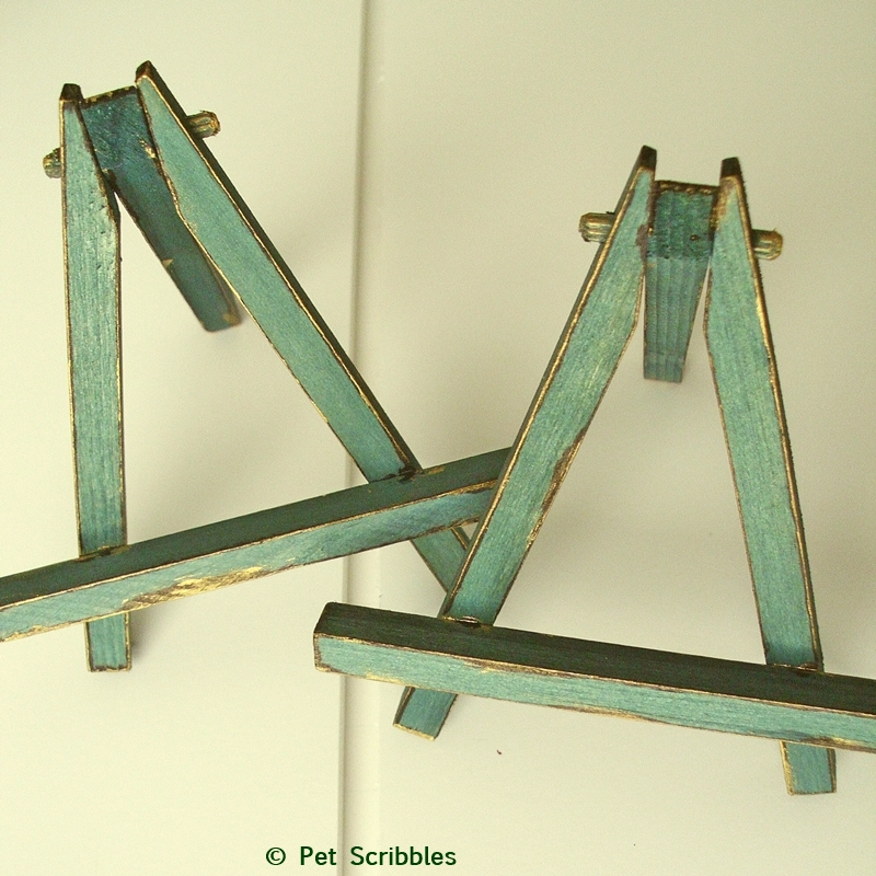 Mini Wood Easels: dyed, distressed and painted