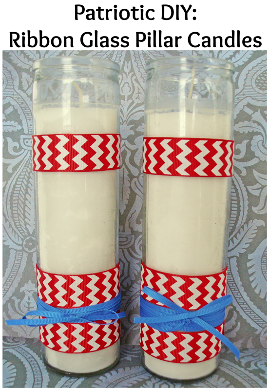 Patriotic Candle DIY: with the easiest way to attach ribbon! (Great tip for DIY Wedding candles too!) #ribbonHOA