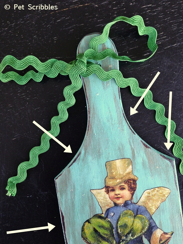 """St. Patrick's Day Distressed Plaque Tutorial: example of """"distressing"""" wood using a brown Sharpie marker"""