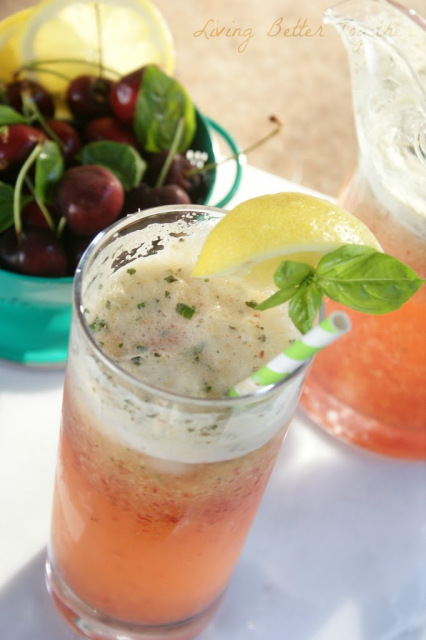 Cherry Basil Lemon Fizz drink recipe | Living Better Together