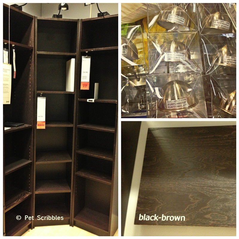 IKEA Billy bookcases in Brown-Black Color plus halogen lamps