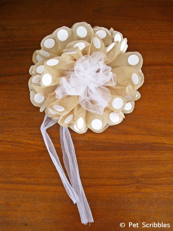 Large Polka Dot Tissue Paper Flower with white round labels and white tulle netting!