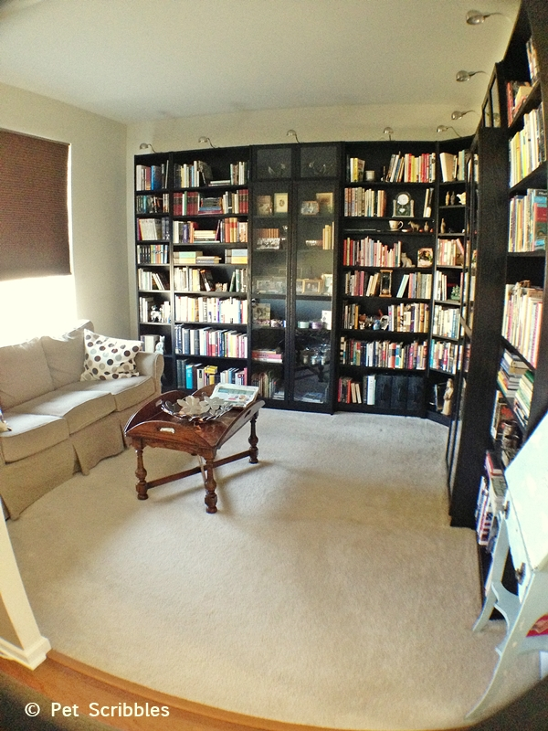 Library room makeover with ikea bookcases pet scribbles for Library living room ideas