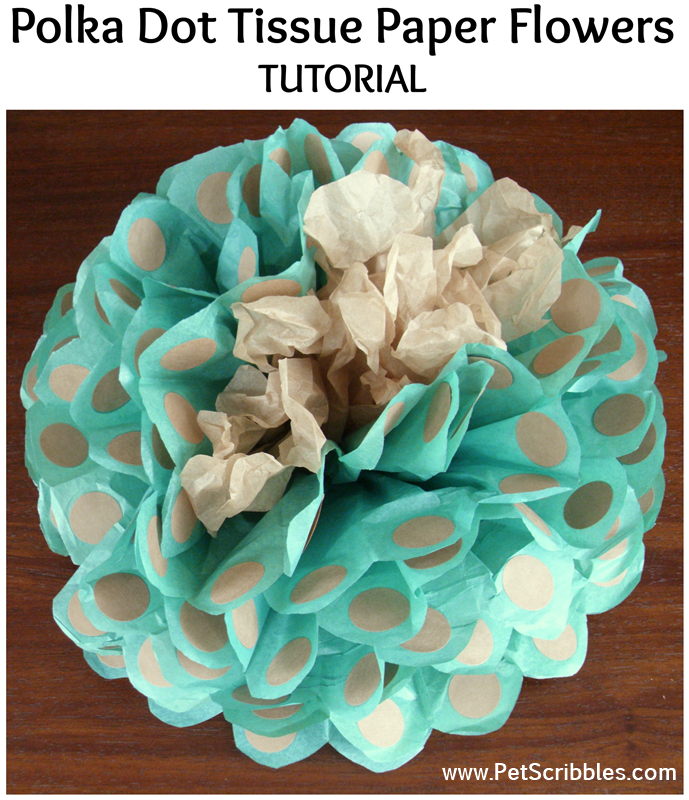 Polka Dot Tissue Paper Flowers Tutorial: make big tissue paper flowers with polka dots, which are actually round labels! Easy and fun! #PartyCraftHOA