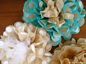 DIY big tissue paper flowers with polka dots