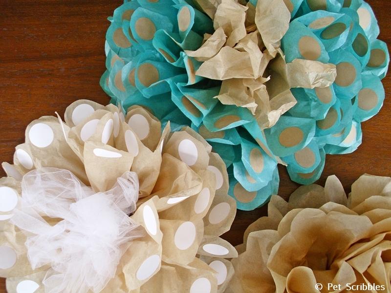 Polka Dot Tissue Paper Flowers!