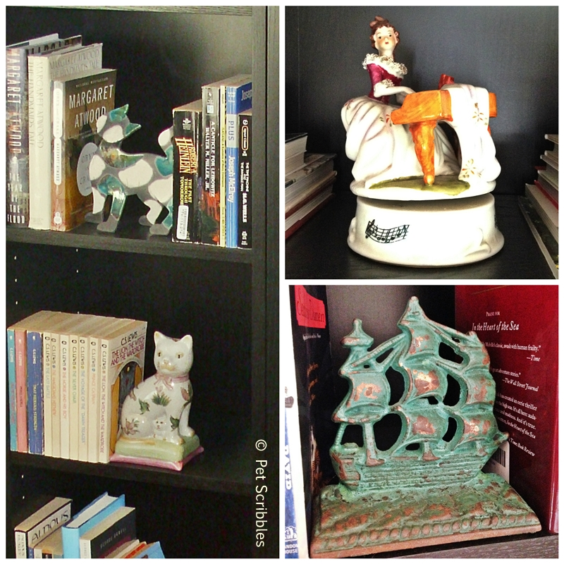 meaningful bookcase accessories and bookends, including vintage lovelies!
