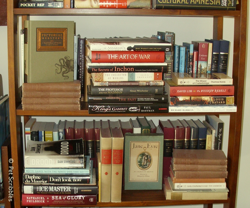 Crowded bookshelves meant no longer easily keeping book genres together.
