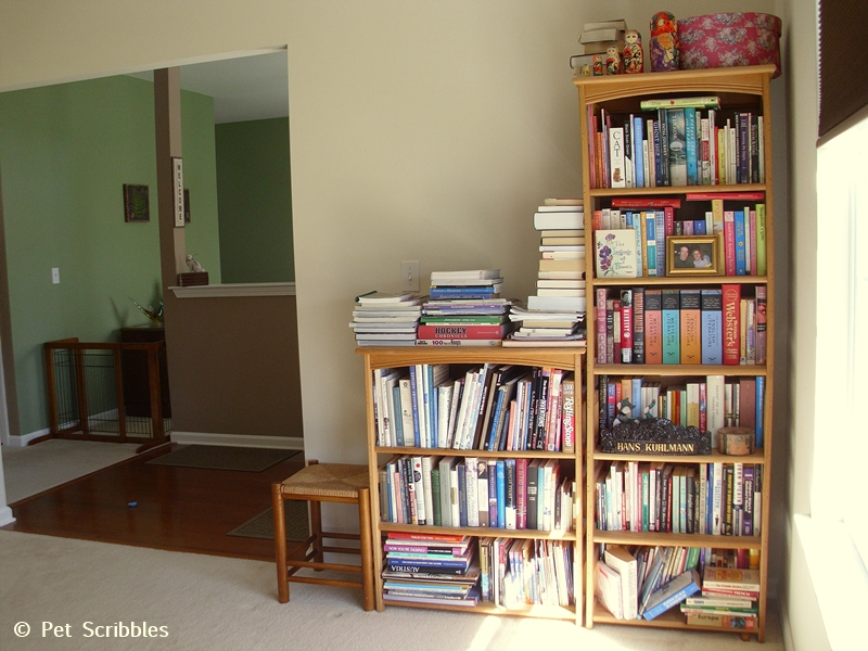 more crowded bookshelves