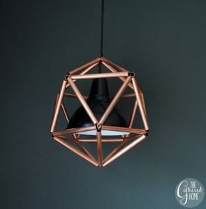 DIY Copper Pipe Icosahedron Pendant Light by The Gathered Home