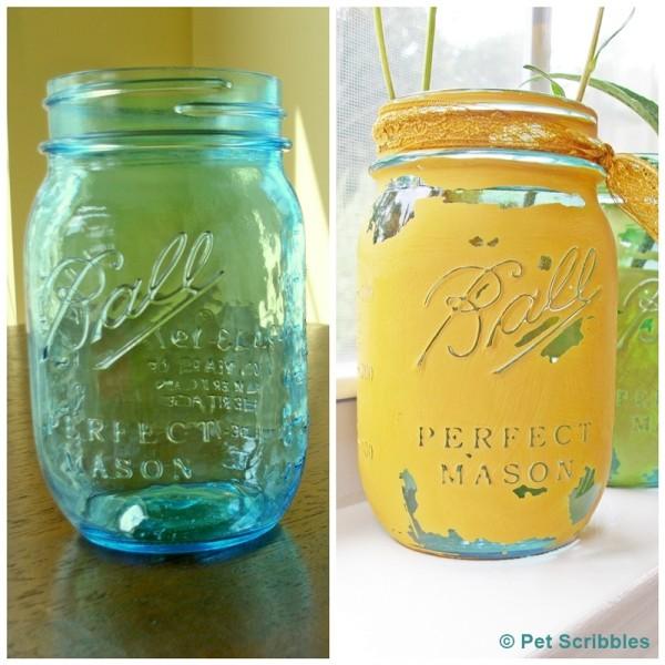 blue glass mason jars painted