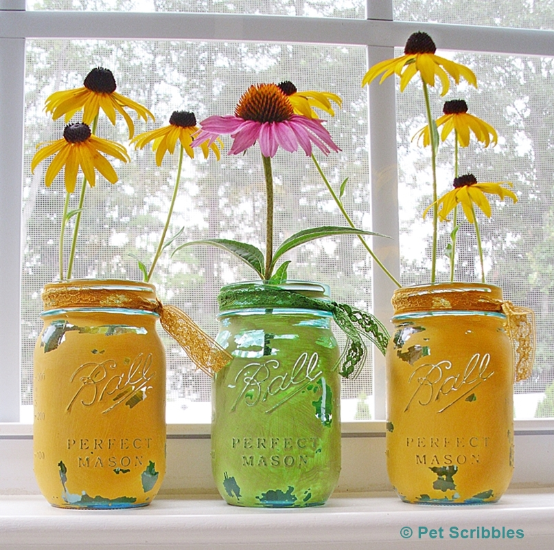 Blue Mason Jar Vases Painted And Distressed Pet Scribbles